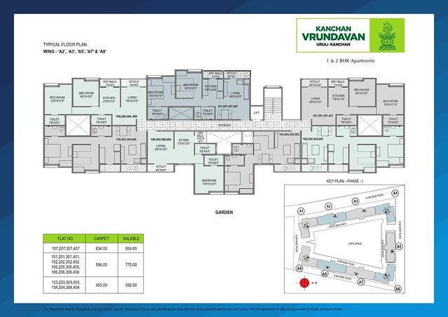 Typical Floor Plan of A2, A3, A5, A7 & A8 Buildings at Kanchan Vrundavan, 1 BHK & 2 BHK Flats at Koregaon Mul, near Uruli Kanchan Pune 412202