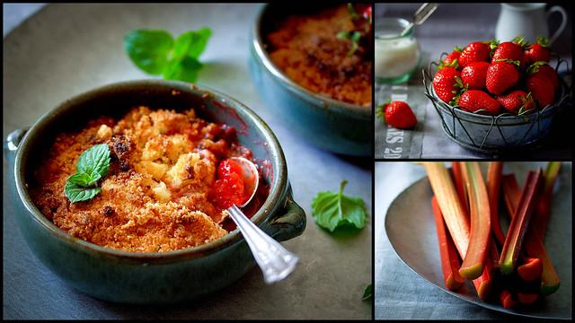 Erdbeer-Rhabarber-Kokos-Crumble
