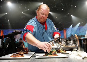 batali cooking on the set of iron chef
