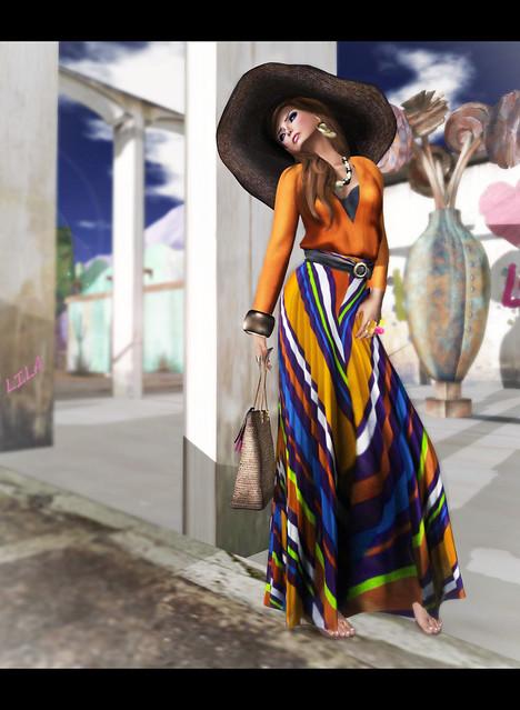 Baiastice_Sunah Mesh maxi skirt-tangerine