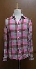 ピンクチェックのガーゼシャツ