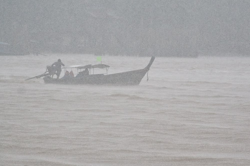 Long-tail boat in deluge