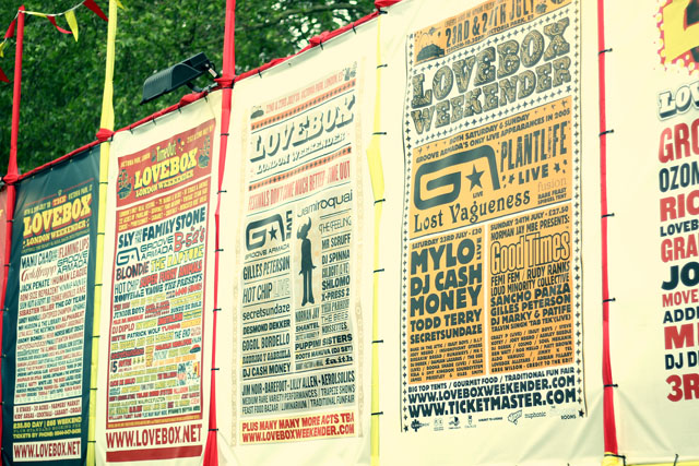Lovebox Festival posters Victoria Park London
