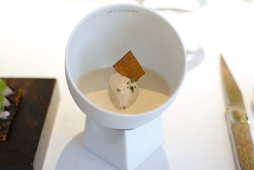 JELLY OF QUAIL, CRAYFISH CREAM Chicken Liver Parfait, Oak Moss and Truffle Toast