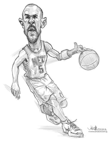 digital caricature of Jason Kidd - sketch