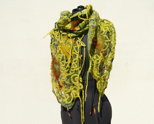 Green fish net wool felted scarf by Jane Bo