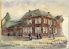 <p>Gezicht op de zij- en de voorgevel van het huis De Krakeling te Utrecht met links het koetshuis aan de Keistraat, uit het zuidwesten. A.E. Grolman 1888. Coll. Het Utrechts Archief.</p>
