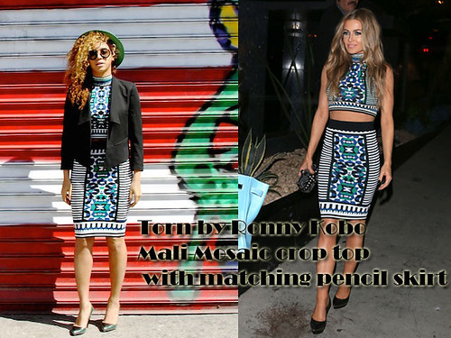 Who wore Torn by Ronny Kobo Mali Mosaic crop top with matching Celeste pencil skirt better? Beyonce or Electra