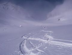 Nasze ślady na lodowcu Oberaargletscher.