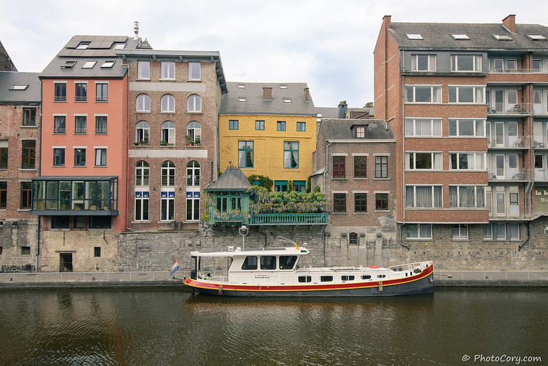 Boat and houses in Namur, Belgium