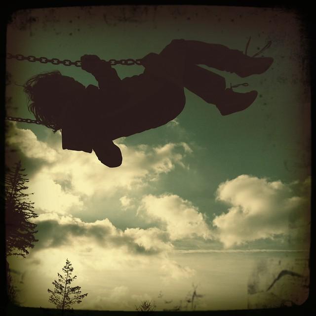 swing, shoelaces, sky