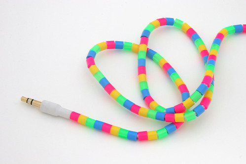 Perler beads on earbuds cord
