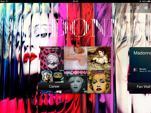 Madonna App for iPad - Main Screen