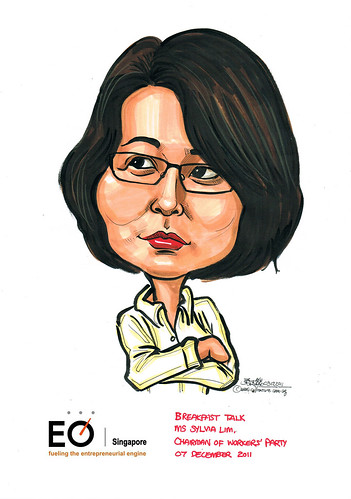 Ms Sylvia Lim caricature for EO Singapore