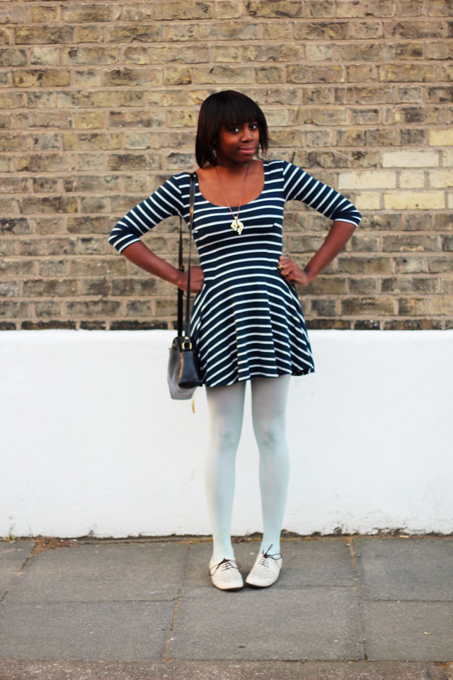 motel stripe nautical dress mint tights jane shilton bag