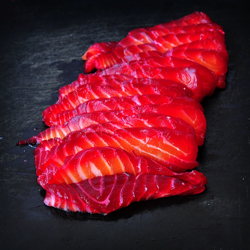 Beet Cured Salmon Sliced