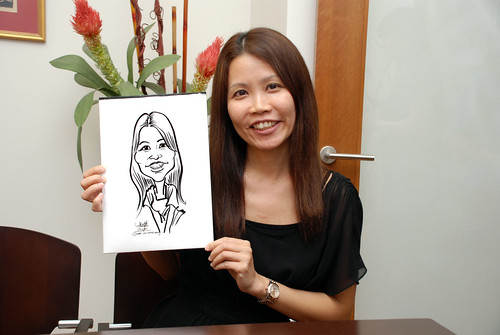 Caricature live sketching for Marks & Clerk Singapore LLP Christmas Party - 4