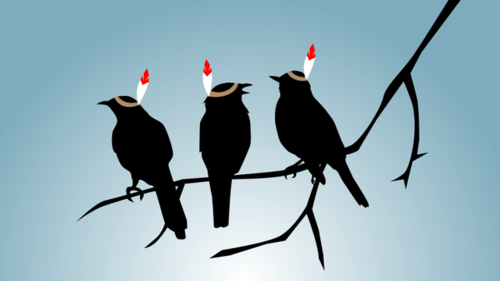 The Gawker graphic of three black birds on a branch, each wearing a headband with a single feather sticking out of it