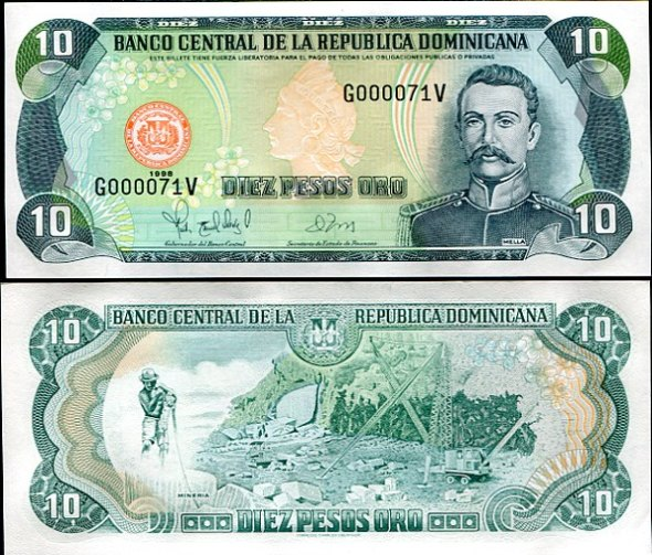10 Pesos Oro Dominikánska Rep. 1998, Pick 153