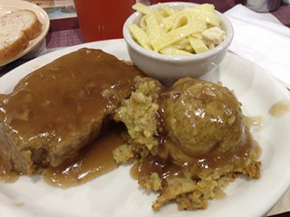 Yoder's Meatloaf, Buttered Noodles and Chicken Stuffing