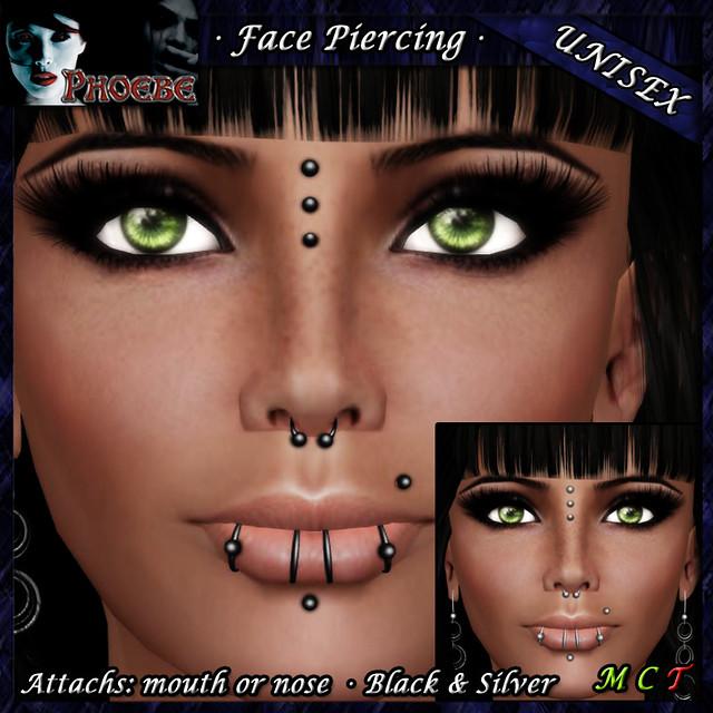*P* Unisex Face Piercing ~ Serie K1 ~ Black & Silver