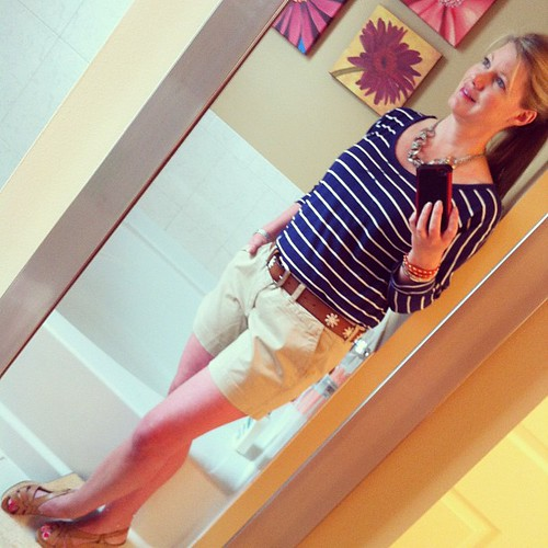 Fridays ootd: Old Navy shirts and shirt, Guess sandals, Target belt, Jewelry Target and Charming Charlie, tired eyes courtesy of last night's crazy thunderstorms.  :)