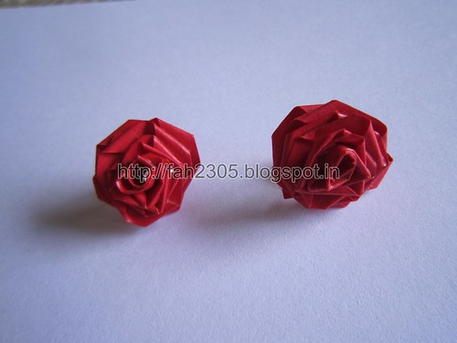 Handmade Jewelry - Paper Rose Earrings (Maroon) (1) by fah2305