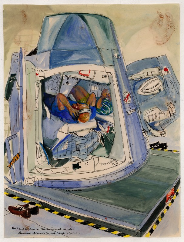 sketch painting of astronauts in space craft module simulator