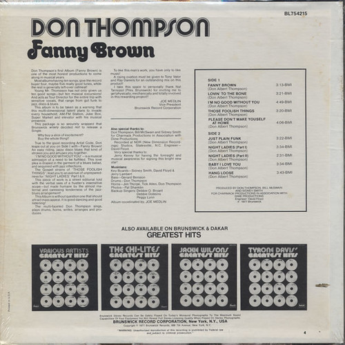 Don Thompson  - Fanny Brown - back