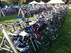 Almost 200 bikes parked for the night in Princeton, NJ