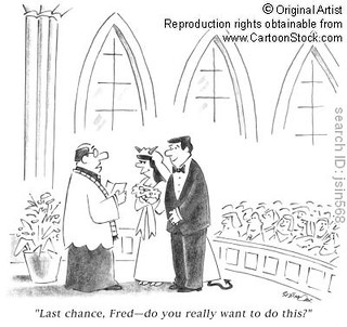 a cartoon of a man marrying a woman with satan horns and a tail. the priest says, last chance Fred--are you sure you want to do this?