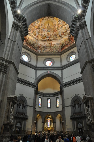 Looking up at the dome in the Duomo