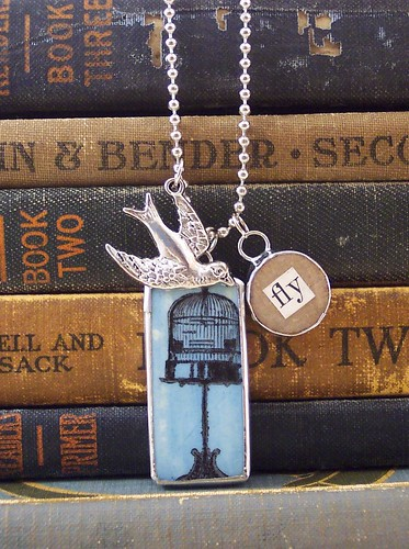 Bird and Cage Charm Necklace