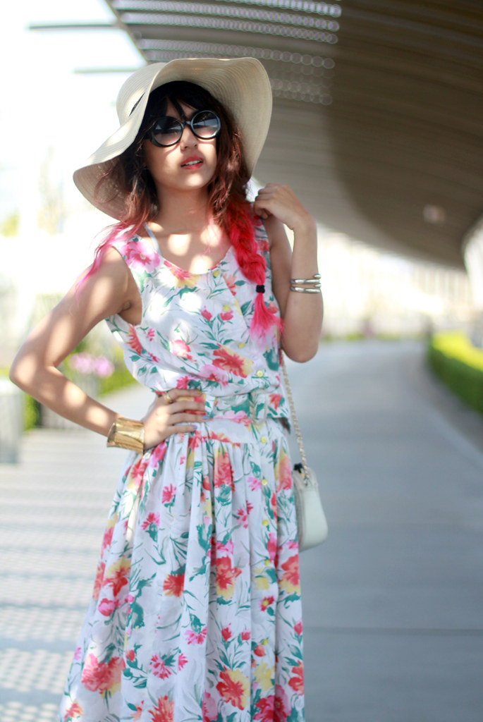 Tarte Vintage Floral Dress (available at shoptarte.com), straw floppy hat, Dolce Vita helix wedges, pink ombre dip dyed hair, outfit by Joellen Lu on joellenlove.com