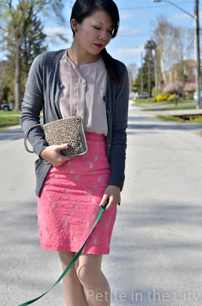Anteprima clutch, H&M blouse and lace skirt, Halogen cardigan