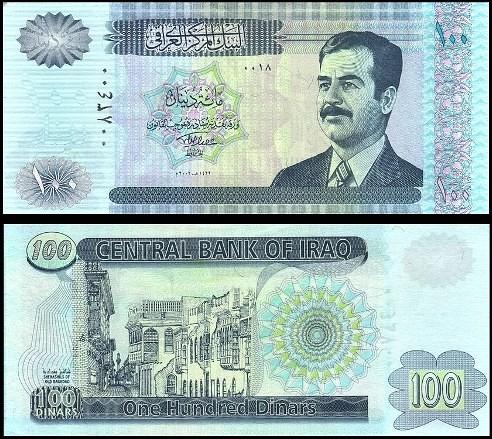 100 Dinárov Irak 2002, S.Hussein Pick 87