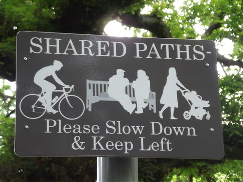 Selly Oak Park - sign - Shared paths - Please Slow Down & Keep Left