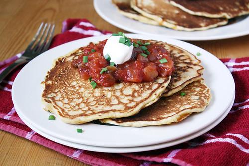 cheddar, chive & cornmeal pancakes.