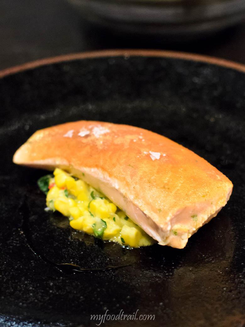 Mr Hive Kitchen & Bar - Slow cooked Marlborough King salmon, crab & sweet corn $34