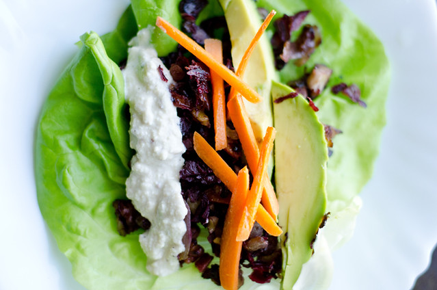 Hibiscus and Red Walnut Lettuce Wraps by Mary Banducci