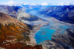 cirque(0.0), plateau(0.0), crater lake(0.0), cliff(0.0), moraine(1.0), mountain(1.0), nature(1.0), glacial landform(1.0), mountain range(1.0), glacier(1.0), geology(1.0), ridge(1.0), terrain(1.0), landscape(1.0), wilderness(1.0), aerial photography(1.0),
