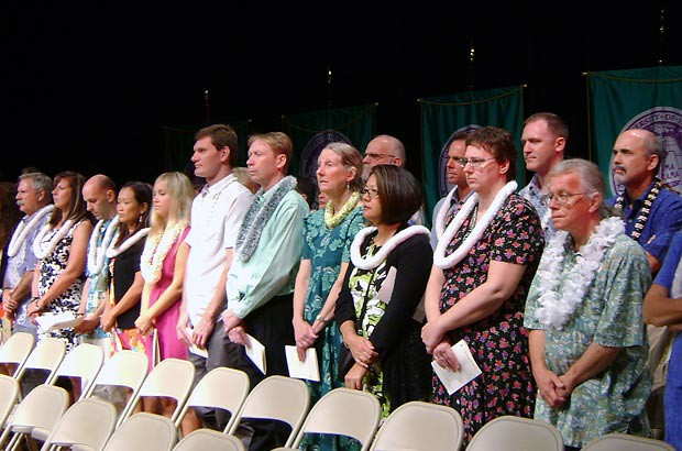 <p>The faculty and staff of Kaua'i CC participate in the commencement ceremony held on Friday, May 11</p>