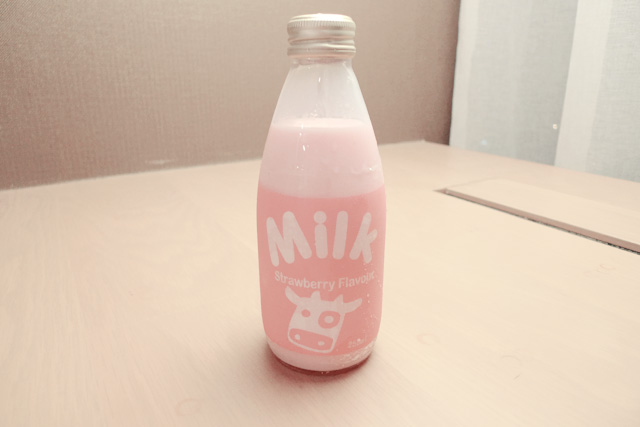 cute strawberry milk bottle