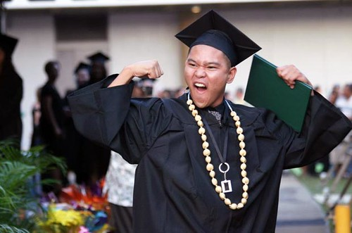 <p>A Leeward CC graduate is on top of the world</p>