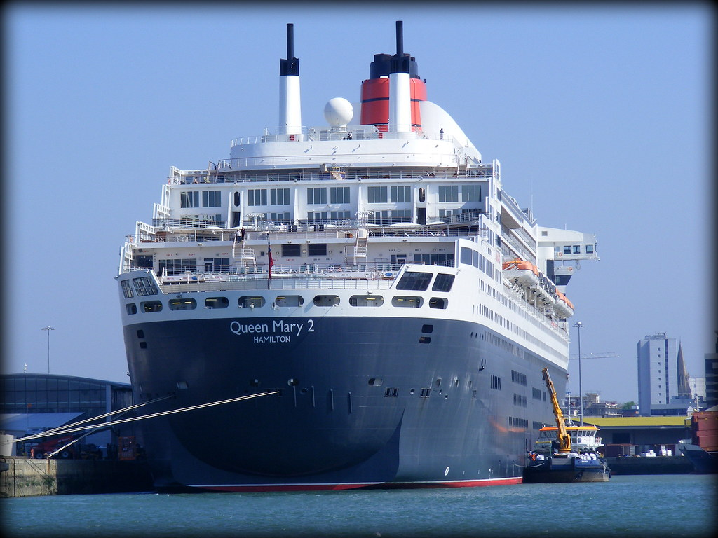 Queen Mary 2 Moored in Ocean Terminal - Southampton