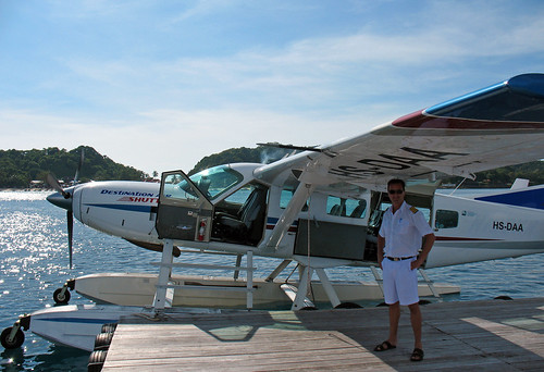 Seaplane and captain at Phi Phi Island