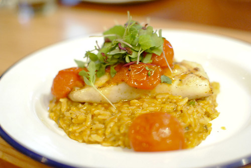 paiche amazonian fish from peru, ajiaco de arroz, cherry tomato escabeche