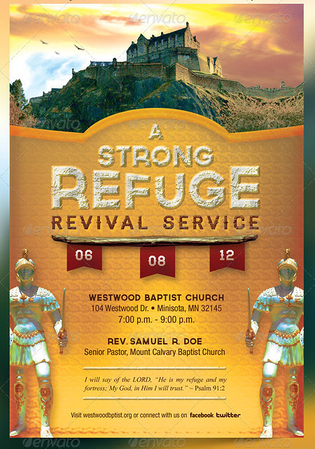 A strong refuge revival service flyer and cd flickr for Free church revival flyer template