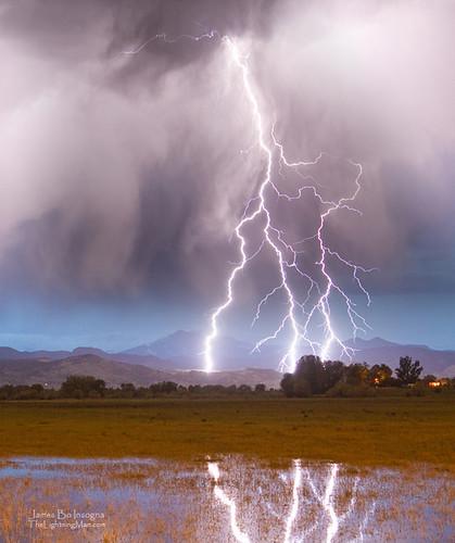 Lightning Striking Longs Peak Foothills 6C