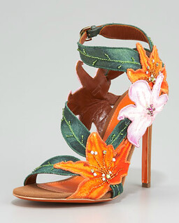 Sergio Rossi Embroidered Canvas Flower Sandal NM Retail $1245 on sale for $834